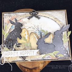 #timholtz #stampersanonymous #rangerink #eastercard #springcard #cardtutorial #handmadecard #bunnies Tim Holtz Stamps, How To Make Banners, Stampers Anonymous, Ranger Ink, Scrapbooking, Landscape Quilts, Collaborative Art, Distressed Painting, Art Lessons Elementary