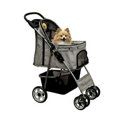 Lucky Lola Pet Stroller Dog Cat  Folding Carrier Animal FREE Rain Cover SQUARES #LuckyLola