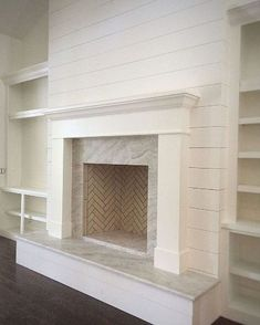 7 Sensible Tips AND Tricks: Fireplace Kitchen Entertainment Center whitewash fireplace built ins.Shiplap Fireplace Makeover how to hang tv over fireplace. Fireplace Redo, Fireplace Built Ins, Shiplap Fireplace, Farmhouse Fireplace, Fireplace Remodel, Living Room With Fireplace, Fireplace Design, Fireplace Modern, Fireplace Ideas
