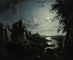 View of Pendragon Castle by Moonlight (1822 - Oil on canvas) - Abraham Pether