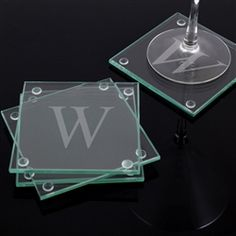 Etched Glass Coaster Set