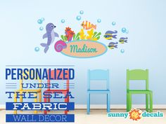 Personalized under the sea fabric wall decor - Non toxic, customizable, and easy to apply! Made in the USA