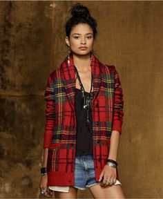 Denim & Supply Ralph Lauren Sweater, Long-Sleeve Plaid Shawl-Collar Cardigan - Womens Sweaters - Macy's