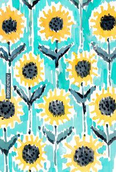 Watercolor Pattern, Watercolor Art, Sunflowers Background, Sunflower Wallpaper, Watercolor Sunflower, Sunflower Pattern, Iphone Background Wallpaper, Sunflower Fields, Pretty Wallpapers