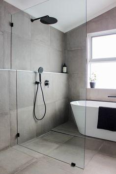 Bathroom Ideas Wet Room, Concrete Bathroom, Grey Concrete Bathroom Renovation, Full Height Tiling, F New Bathroom Designs, Bathroom Trends, Modern Bathroom Design, Bathroom Interior Design, Contemporary Bathrooms, Shower Designs, Wet Room Bathroom, Laundry In Bathroom, Bathroom Grey