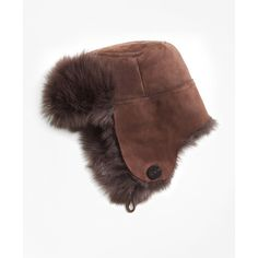 Brooks Brothers Shearling Trapper Hat (1,305 SAR) ❤ liked on Polyvore featuring accessories, hats, shearling trapper hat, brooks brothers, trapper hat, brooks brothers hat and fleece lined hat