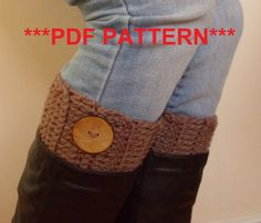PDF PATTERN - Ribbed crochet Boot cuffs toppers
