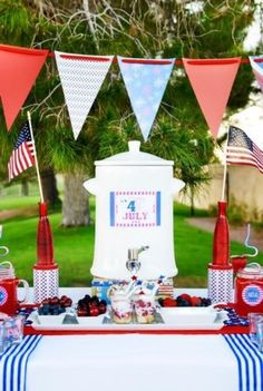4th of July table and party. Cute!