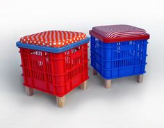 Recycled Home Decor - Handmade Home Decor - The Daily Green. Would be great for storage and perfect for a kid room Milk Crate Storage, Storage Stool, Diy Storage, Storage Ideas, Milk Crate Seats, Crate Shelves, Crate Stools, Crate Table, Crate Ottoman
