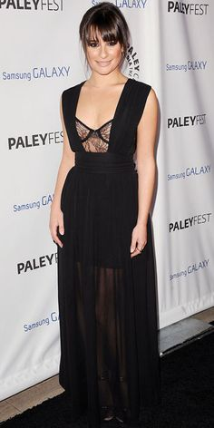 Lea Michele smoldered in a silk chiffon Vivienne Tam gown, gold Jennifer Meyer jewelry and leather Elie Saab sandals to honor Ryan Murphy at PaleyFest.