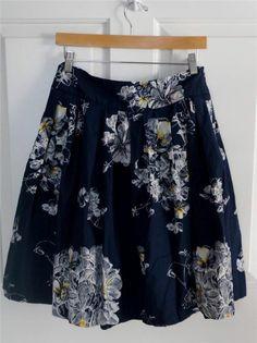 ANTHROPOLOGIE ODILLE sz 2 navy blue floral full circle skirt  $34.99 #anthroskirts #anthropologie #retroskirts