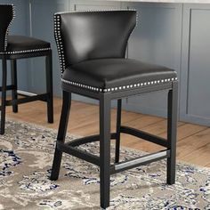 Crafted of solid birch, this black bar stool is an investment piece that lends a seat at your island or counter-height table. Its faux leather upholstery is easy to clean so it's perfect in a kitche Chrome Bar Stools, Black Bar Stools, Counter Height Bar Stools, 30 Bar Stools, Swivel Bar Stools, Bar Counter, Bar Chairs, Bar Stools With Backs, Stools For Kitchen Island
