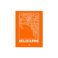 Orange Map of Melbourne Wall Art Print ($21) ❤ liked on Polyvore featuring home, home decor, wall art, interior wall decor, wall posters, wall coverings, home wall decor and map poster