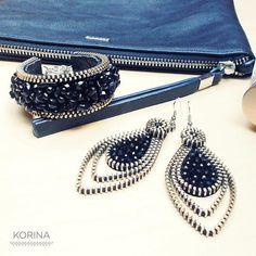 Black Long Earrings  Zipper Earrings  Zipper Jewelry  Glass