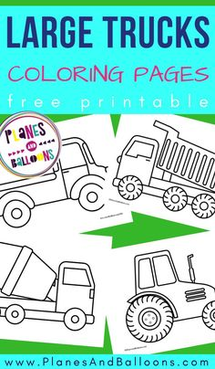 Free printable large trucks and cars coloring pages for toddlers and preschoolers. Tractor Coloring Pages, Dinosaur Coloring Pages, Preschool Coloring Pages, Truck Coloring Pages, Free Printable Coloring Pages, Free Coloring Pages, Coloring Pages For Toddlers Printables, Construction Theme Preschool, Transportation Theme Preschool