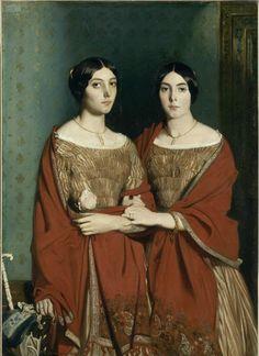 샤세리오 양들 [샤세리오] 같은 얼굴, 같은 머리, 같은 목걸이, 같은 옷을 입고 있는 쌍둥이 자매의 모습이 인상적이다. 반지를 낀 손가락과 손, 그녀들의 팔에 있는 문신과 팔찌를 통해서 그녀들이 다른 사람이라는 걸 느낄 수 있다. 그러나 그녀들의 시선과 얼굴 방향은 또 다른 모습을 보게 해 준다. 왼쪽의 샤세리오 양은 관객을 비스듬한 각도에서 쳐다보고 있으면서, 정면에서 다소 왼편에서 들어오는 빛에 의해 생기는 그림자, 그리고 살짝 내려간 입가의 모습이 도도하면서도 음울한 분위기를 풍기고 있다. 반면에 오른쪽의 샤세리오 양은 살짝 미소를 띤 듯한 표정과 더 진한 눈썹, 그림자가 적은 얼굴의 모습을 통해 밝고 굳센 인상을 주고 있다.