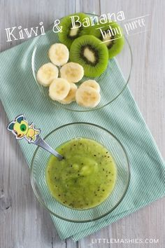 Baby food recipe Kiwi & Banana puree from Little Mashies reusable food pouches. For free recipe ebook go to Little Mashies website or Amazon