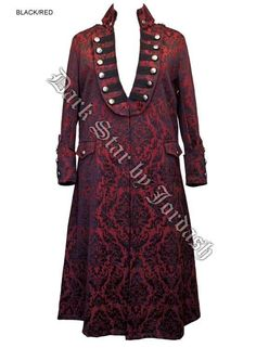 Mens Gothic Pirate Steampunk Red Brocade Long Coat Jacket XL | eBay