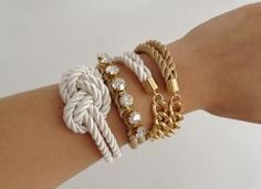 CHUNKY BRACELETS SET  ARM PARTY  BEIGE WHITE AND BY THEURBANLADY