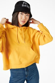 Monki Image 3 of Cropped hoodie  in Yellow Reddish