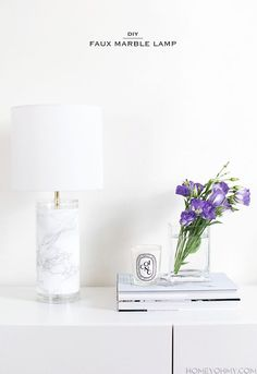 DIY Faux Marble Lamp- Homey Oh My!