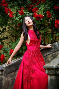 Red dress and red roses