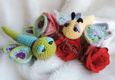Cute Flutter Flies Crochet Pattern Adorable Dragonfly and Butterfly by Teri Crews