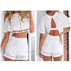 White crop top and shorts set First photos are not exact. White fringe crop top with matching shorts. I traded this with another Posher but it's too small for me. She listed it as a L and said it fits more like a S/M, but I've listed it as a S because I think it fits that the best. It'll probably also fit a small M. There are some small brown spots on the top, which were there when I got it, but they're hardly noticeable. The shorts have a zipper on the back and are not stretchy. Never been…