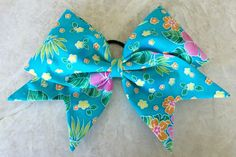 Hand Sewn Cheer Bow--Turquoise Hibiscus