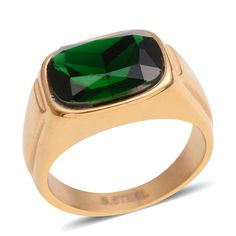 MEN'S GREEN DIAMOND SIMULATE YELLOW GOLD ION BOND STEEL SOLITAIRE RING SIZES #L2D #Solitaire