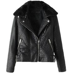 Black Pretty Womens Inclined Zipper Fur Collar Jacket (€70) ❤ liked on Polyvore featuring outerwear, jackets, casacos, leather jacket, pinkqueen, black, black jacket, black zipper jacket, leather zip jacket and zip jacket