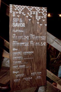 geometric inspired drink menu, photo by Mandilynn Photography http://ruffledblog.com/levyland-estate-wedding #weddingideas #signs