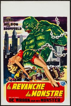 "Revenge of the Creature (Universal International, 1955). Belgian (14.25"" X 21.75""). Horror. Starring John Agar, Lori Nelson, John Bromfield, Nestor Paiva, Grandon Rhodes, Clint Eastwood, and Diane DeLaire. Directed by Jack Arnold."