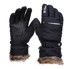 Cairn, Abyss Ski gloves, Women, black Technical warm ski gloves with fake fur cuffs Ski gloves especially for women. The gloves guarantee optimal warmth and are perfectly isolated against wind, moist and water. The Primaloft insulation is soft and warm and can be compared with down due to its lightweight and warmth.  The fake fur cuffs make these gloves complete.