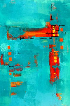 """Rusty"" - Turquoise Abstract Painting   by Nancy Merkle"