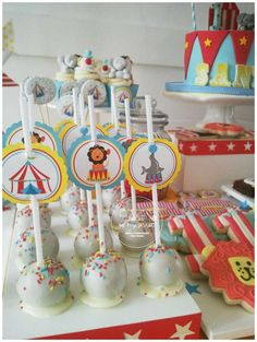 Sprinkle cake pops at a circus birthday party! See more party ideas at CatchMyParty.com!