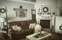 Living area, living room with fireplace, farmhouse style decorating, farmho Living Room Decor Brown Couch, Farmhouse Living Room Furniture, Living Room With Fireplace, Home Living Room, Interior Design Living Room, Living Area, Cozy Living, House Inside, Family Room