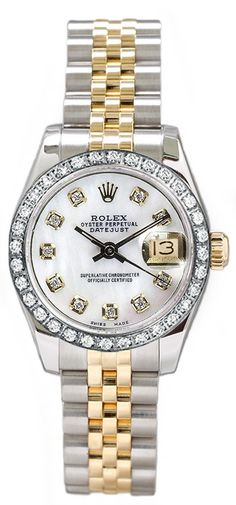 Rolex Women's Datejust Two Tone Custom Diamond Bezel & Mother of Pearl Diamond Dial - Luxury Of Watches. Need to start saving! Gold Rolex Women, Analog Watches, Women's Watches, Watches For Men, Jewelry Watches, Luxury Designer, Diamond Watches, Diamond Rolex, Rose Gold Watches