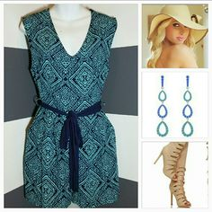 """Beautiful in Blue Romper NWOT Brand New, no tags  Beautiful blue romper. Fun and playful print. Easy to pair with flip flops and a floppy hat or dress them up with heels, a town hat and glamorous earrings! Pockets on sides. Sexy V neck. Ties around waist.  For cool nights just add a denim jacket or tan blazer!   Colors turquoise and navy blue Zips up in back Length approx 30"""" Bust seam to seam approx 18"""" 100%polyester Shorts"""