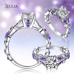 Round Cut Created White Sapphire with Amethyst Sidestone Rhodium Plating 925 Sterling Silver, One can be elegant with the ring #jeulia