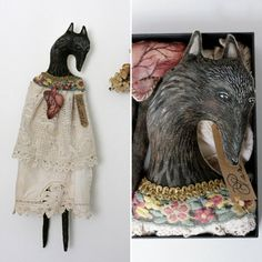 Wolf Art Doll 'Virginia Wolf' OOAK textile art doll in box by Pantovola