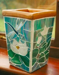 Waterlilies and dragonfly - glass mosaic flower pot.