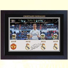 Cristiano Ronaldo Ballon d'Or Manchester United Real Madrid signed Framed