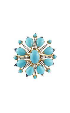 Turquoise and Diamond Star Bracelet by Silvia Furmanovich for Preorder on Moda Operandi