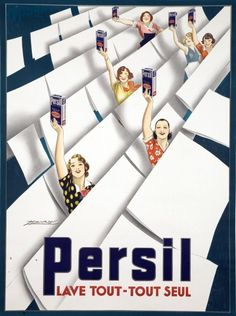 This vertical french product poster features women holding up boxes of soap while standing in rows of sheets hanging on laundry lines. The beautiful Vintage Poster Reproduction is perfect for an office or living room. Persil Lave tout-tout seul by Mauzan
