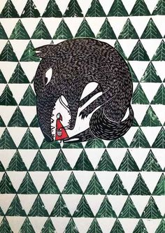 "Celebrating Print 2014 Artist Darina Vybohova, Little Red Riding Hood (2014), linocut, 15 3/8"" x 21 1/4"" image size, edition of 8. Exhibited at Celebrating Print 2014 in New York City. Photo: Darina Vybohova, courtesy of KADS NY."