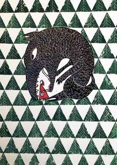 "Celebrating Print 2014 Artist Darina Vybohova, Little Red Riding Hood (2014), linocut, 15 3/8"" x 21 1/4"" image size, edition of 8. Exhibited at Celebrating Print 2014 in New York City. Photo: Darina Vybohova, courtesy of KADS NY."