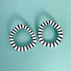 Clay Earrings, Hoop Earrings, Black And White Earrings, Animal Earrings, Porcelain Jewelry, Circle Shape, Earring Backs, Polymer Clay, Im Not Perfect