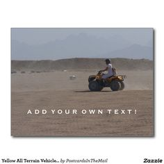 Yellow All Terrain Vehicle (ATV) Postcard