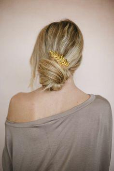 Gold Leaf Hair Comb by Three Bird Nest | Women's Boho Clothing